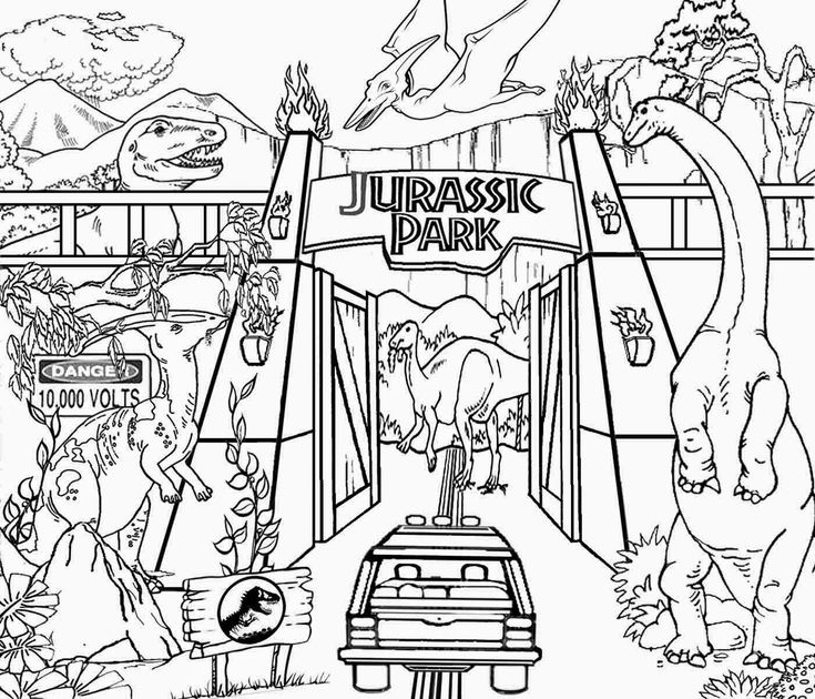 The Entrance Of Jurassic Park In Movie Coloring Page For Children