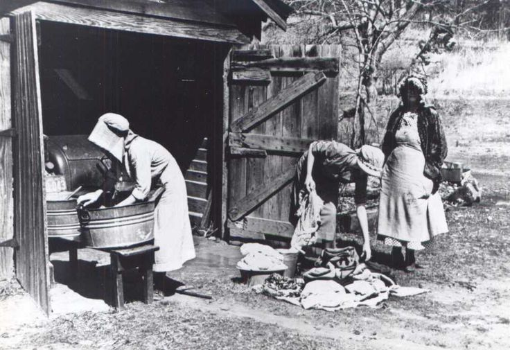 Cabin Creek Clothing: Women Wash Clothes In The Crabtree Creek Recreational
