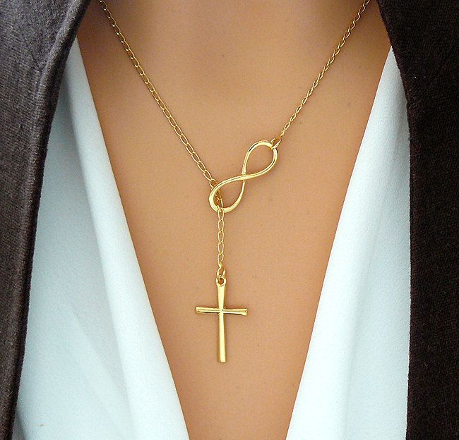 GOLD Cross and Infinity Necklace  Gold Vermeil by SaraAndJane