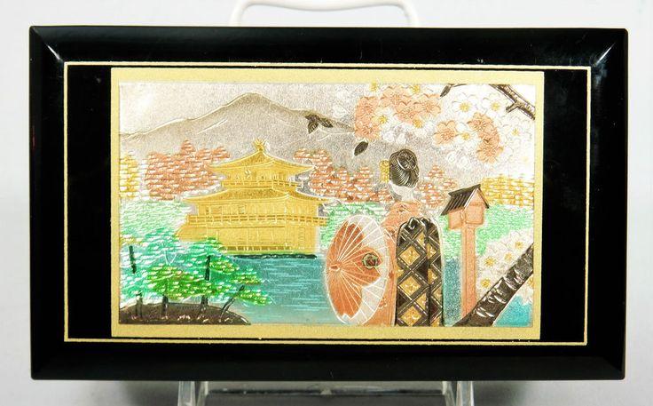 Japanese Enamelled Jewellery Box Musical Sakura Pakoda Geisha Vintage