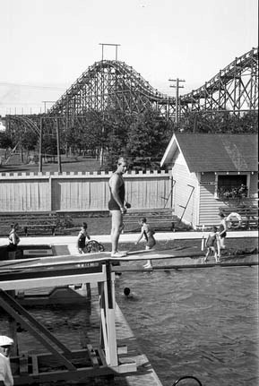 "Borden Park Pool and Roller Coaster, Edmonton, AB, 1932. ""The Borden Park roller coaster seen in the background was built in 1915 and dismantled in 1935 due to safety concerns."""