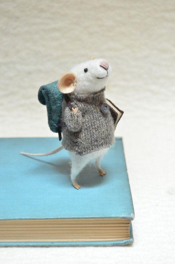 Little Traveler Mouse - unique - needle felted ornament animal, felting dreams by johana molina