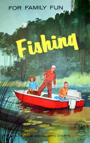 For Family Fun Fishing, 1960s - original vintage poster