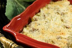 German Cabbage Casserole | Cabbage, ground beef, onion, sour cream, cheese, breadcrumbs