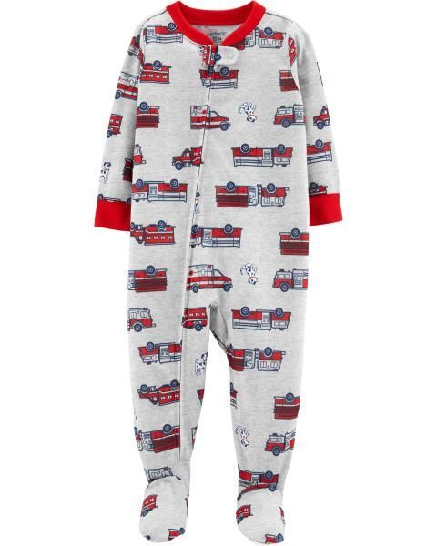 3f35ce96c Toddler Boy 1-Piece Firetruck Footed Poly PJs