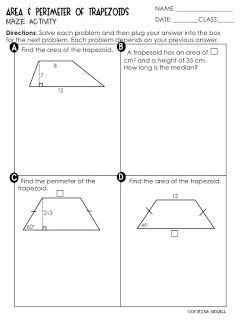 FREE Area and Perimeter of Trapezoids Maze Activity Worksheet