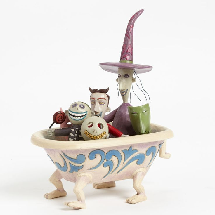 Nightmare Before Christmas - Lock Shock and Barrel in Tub - World-Wide-Art.com - #nightmarebeforechristmas #halloween #disney #timburton #jimshore #disneytraditions