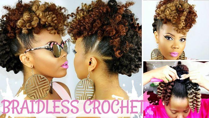 BRAIDLESS CROCHET | NO CORNROWS | CURLY CROCHET FAUX HAWK TUTORIAL | NATURAL HAIR UPDO [Video] - https://blackhairinformation.com/video-gallery/braidless-crochet-no-cornrows-curly-crochet-faux-hawk-tutorial-natural-hair-updo-video/