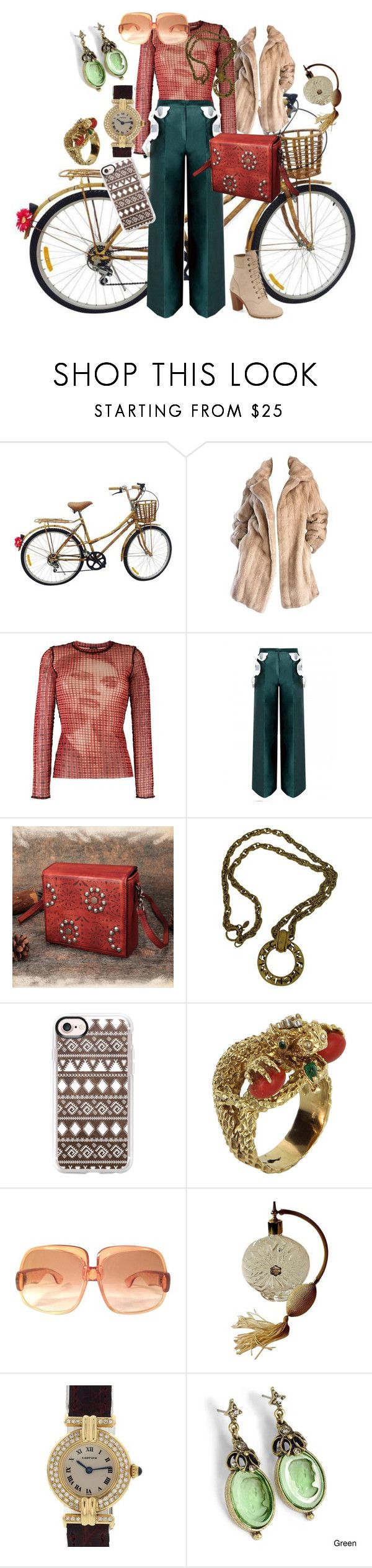 """""""A quirky kind of vintage"""" by tamarilloh ❤ liked on Polyvore featuring Lilli Ann, Jean-Paul Gaultier, Chanel, Casetify, Vintage, Yves Saint Laurent, Cartier, Sweet Romance, Timberland and vintage"""