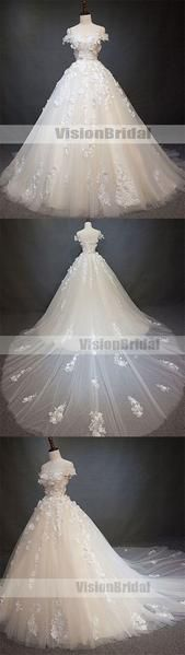 Gorgeous Spaghetti Straps Off Shoulder A-Line Ball Gown With Trailing, Beautiful Wedding Dresses With Appliques, Wedding Dresses, VB0873 Gorgeous Spaghetti Straps Off Shoulder A-Line Ball Gown With Trailing, Beautiful Wedding Dresses With Appliques, Wedding Dresses, VB0873