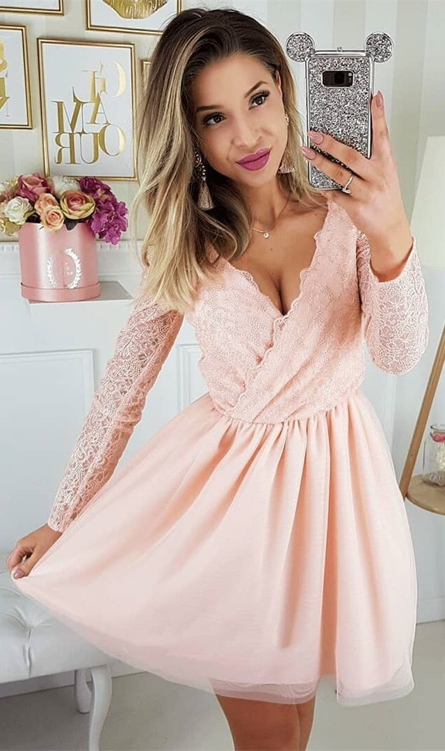 ec3d5e3ba5 A-Line V-neck Long Sleeves Above-Knee Pink Homecoming Dress with ...