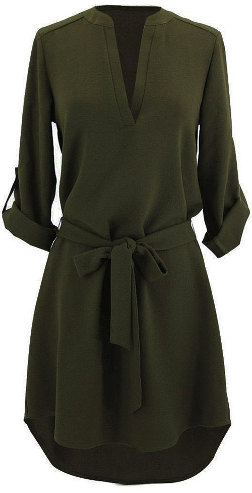 $22.99 Only with free shipping&easy return! This olive tunic dress with sash is detailed with v-neck&high low hem! Have it at Cupshe.com