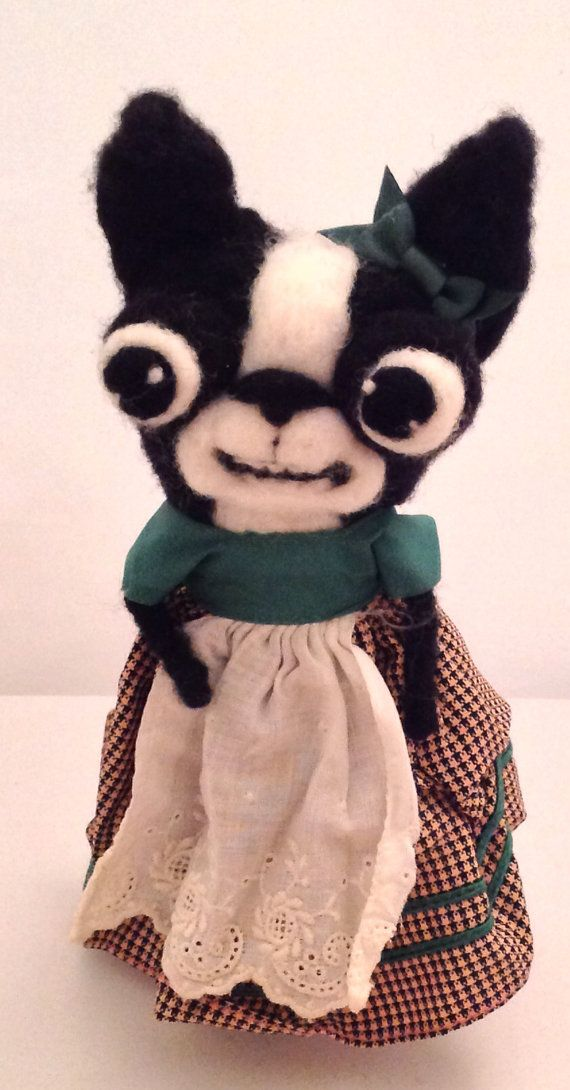 [[I  NEED THIS.]] Boston terrier ooak needle felted art doll by papermoongallery, $69.00