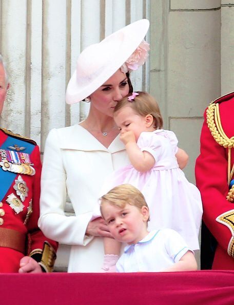 Catherine, Duchess of Cambridge, Princess Charlotte of Cambridge and Prince George of Cambridge attend the Trooping the Colour, this year marking the Queen's 90th birthday at The Mall on June 11, 2016 in London, England.