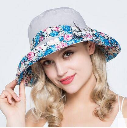Fresh floral bucket hat with bow for women packable sun hats UV