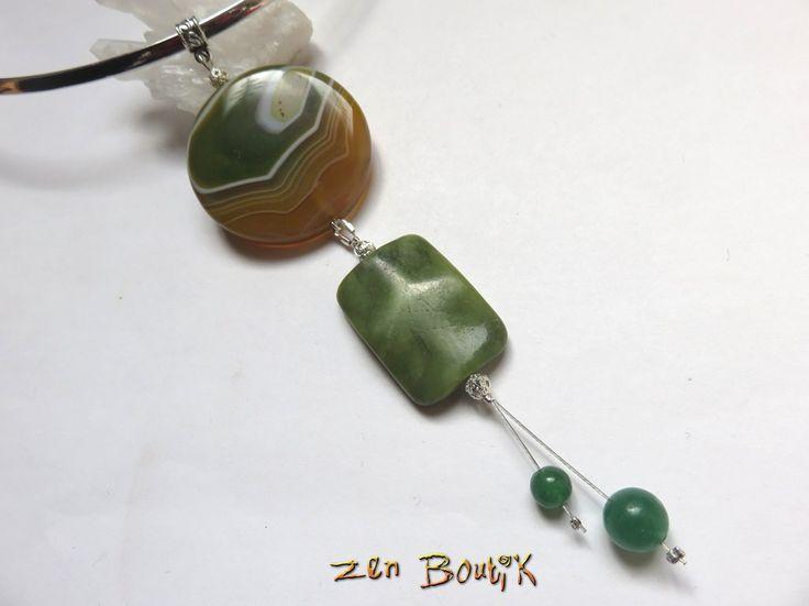 Collier Agate, Jaspe et Jade, Zen Chic, Bijoux Zen Boutik, Collier Pierre, Idée cadeau : Collier par zenboutik