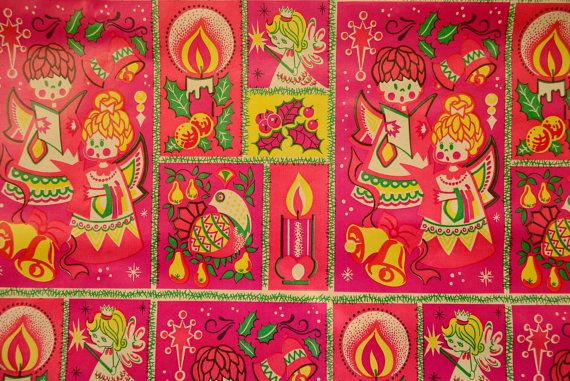 Vintage Xmas Wrapping Paper 1970's Angels by SweetnKitsch on Etsy, $9.50