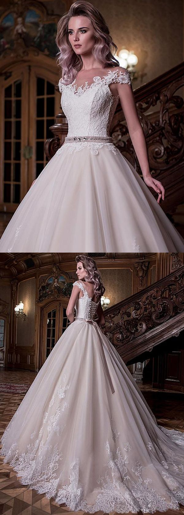 Junoesque Tulle Scoop Neckline Natural Waistline Ball Gown Wedding Dress With Lace Appliques & Belt