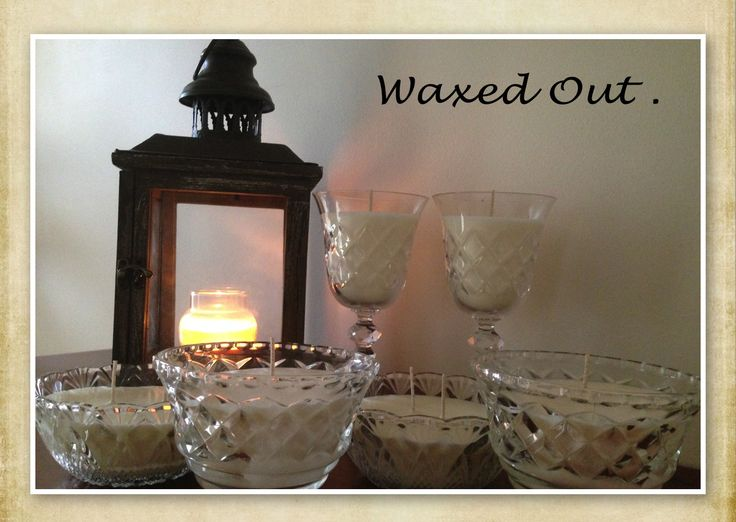 A Little Bit Of Vintage ….  My range of vintage candles are made with essential oils and 100 % soy wax.   Candles are hand poured into a range of different crystal glassware .   Scents used here :  Wine Glasses are scented with Nutmeg & Ylang Ylang and 350grams each .  Small Glass Bowls : Lemon Myrtle & Black Pepper and  420 grams each .   Crystal Dessert Bowls : Maychang & Ylang Ylang  and 450 grams each .   https://www.facebook.com/Perfect.scentz