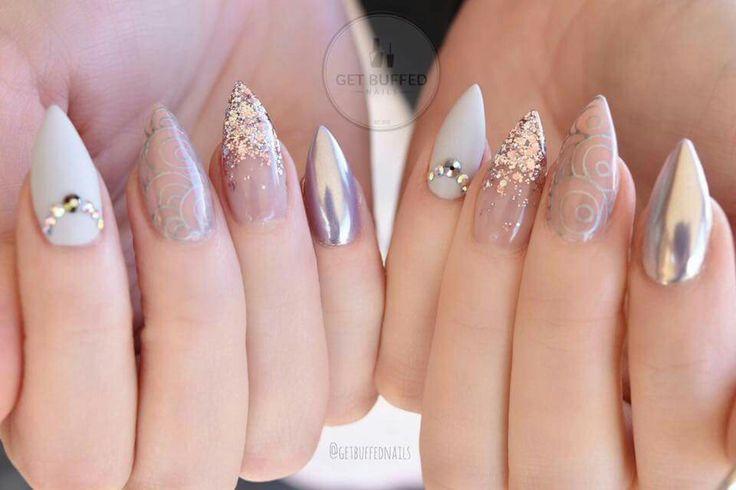 Gris rosa plata stamping chromo nails uñas