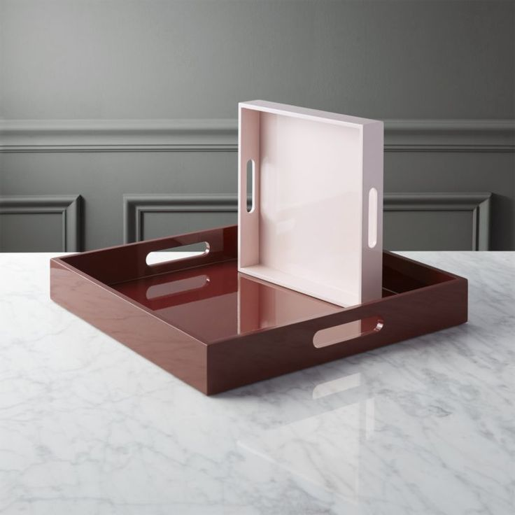 hi-gloss square white tray