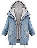 Sitengle Damen Jeansjacke Denim Winterjacke Blazer Langarmshirt 2 in 1 Kurzjacke Freizeit Blusen Oberteil Strickjacke Jäckchen Tops Mäntel Outwear Mit Zipper Blau XL/EU36-38