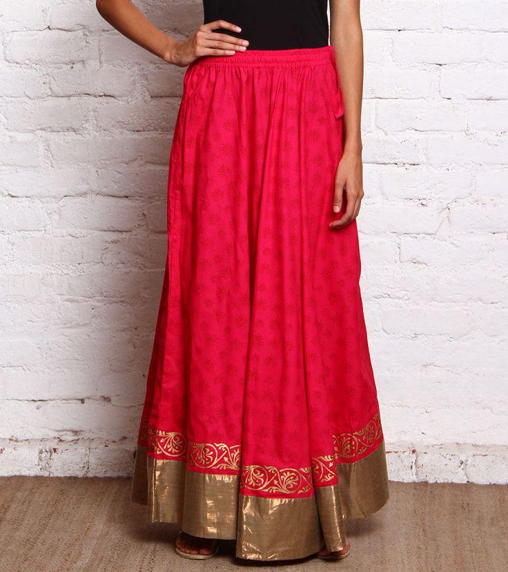 Black & Copper Block Printed Cotton Skirt