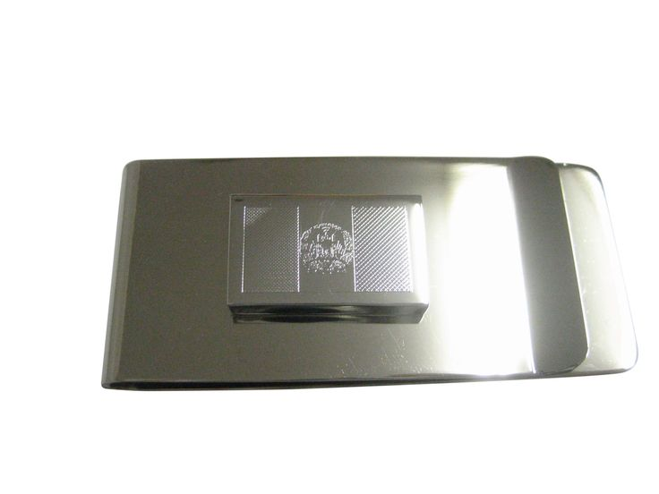 Silver Toned Etched Afghanistan Flag Pendant Money Clip