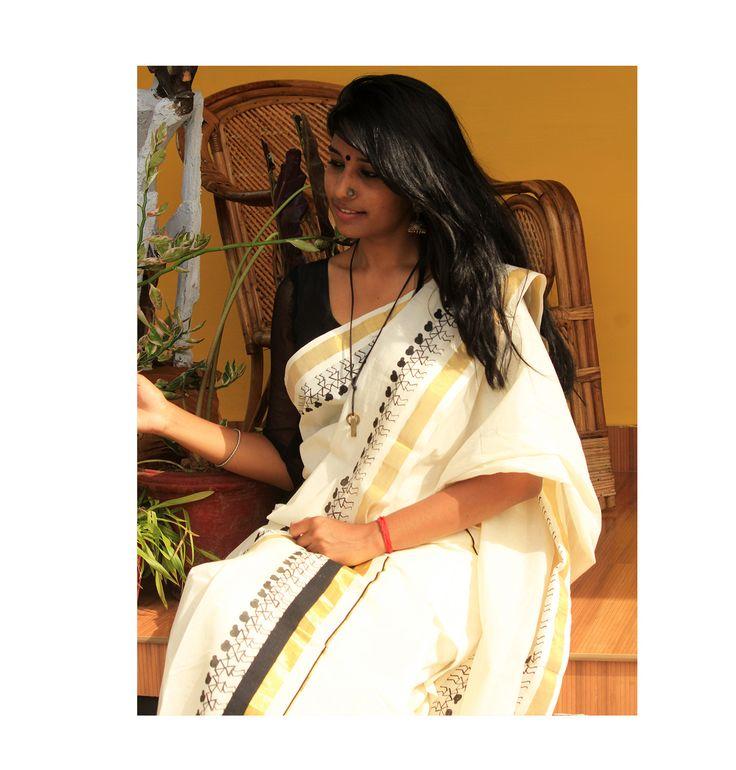 Hand Painted Warli Art Work On Traditional Kerala Set Mundu