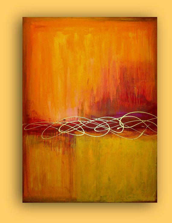 """ART ORIGINAL ABSTRACT Huge Orange and Red Acrylic Abstract Painting Fine Art on Gallery Canvas Autumn Day 36x48x1.5"""" by Ora Birenbaum"""