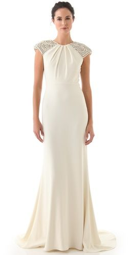 1920s Wedding Dresses - Badgley Mischka Collection Deco Cap Sleeve Gown $2,990.00 WOW #wedding #1920s #1930s