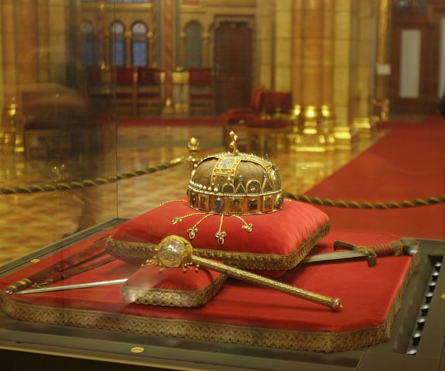 Hungarian crown jewels, Parliament Building, Budapest Hungary