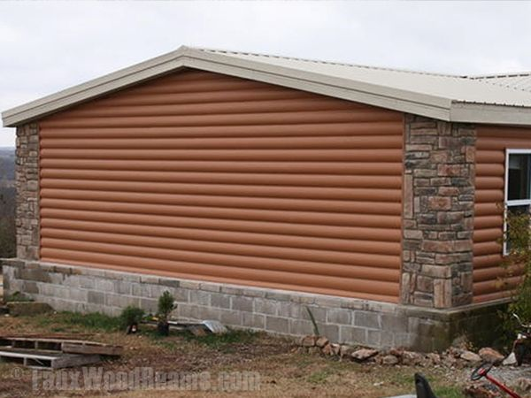 With faux log siding you could easily turn those diy home E log siding