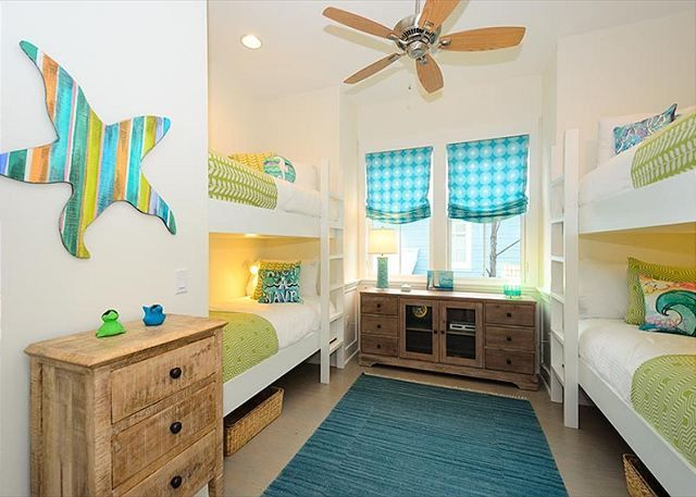 Cute whimsical coastal nautical beach house bunk room for kids, grandkids, guest. Love the colors and rustic furniture, starfish is adorable.
