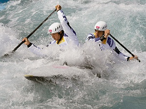 Team GB - Tim Baillie and Etienne Stott on route to winning the men's canoe double.