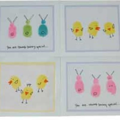 thumbprint easter prints/cards: Thumbprint Animal, Thumb Prints, Easter Cards, Easter Crafts, Kids Crafts, Fingerprints Crafts, Easter Fingerprints, Fingerprints Art, Fingerprints Easter