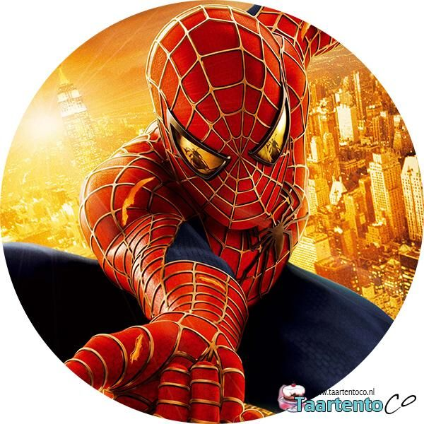 Taartentoco Eetbare Print Spiderman Oranje Rond Cake
