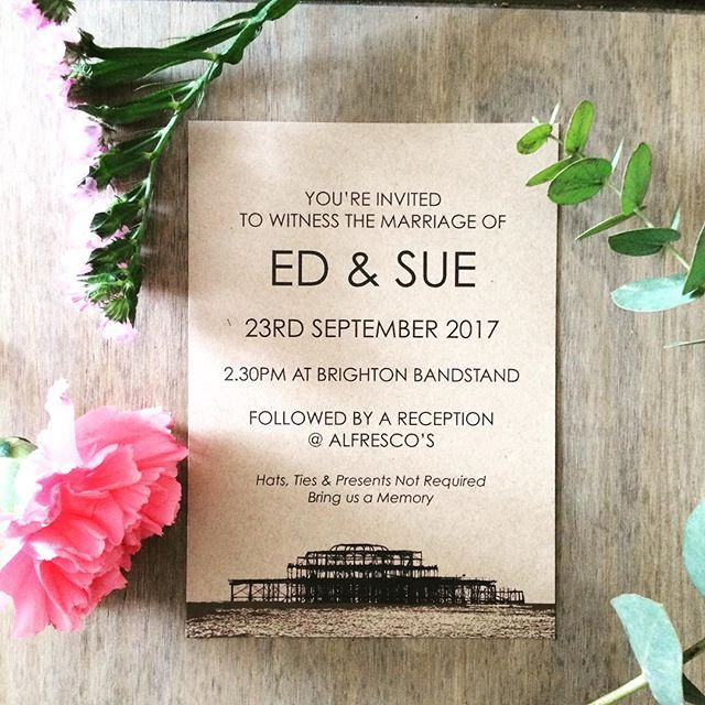 My West Pier design - perfect for any event or party in Brighton printed onto gorgeous soft kraft card. You can personalise and order yours today on my website. Link in bio. #weddinginvites #weddinginspo #wedding #rocknrollbride #brightonwedding #weddingbrighton #brighton #couple #art #westpier #kraft #printed #beautiful #loveislove #design #illustration #happiness #entrepreneur #rocknrollwedding #rockmywedding #sweet #cute