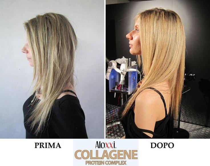 Stupefacente? NO, sono solo gli effetti del nuovo Collagene AloXXi! Il nuovo Servizio Speciale Aloxxi Collagene è l'unico che ripara tutte le parti sensibilizzate dei capelli, li nutre e li prepara a servizi di colore, stiratura o permanente.