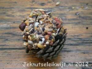 Winter knutsel dennenappels met vogelvoer  Benodigdheden:  dennenappels   pindakaas   vogelvoer   draad             bord