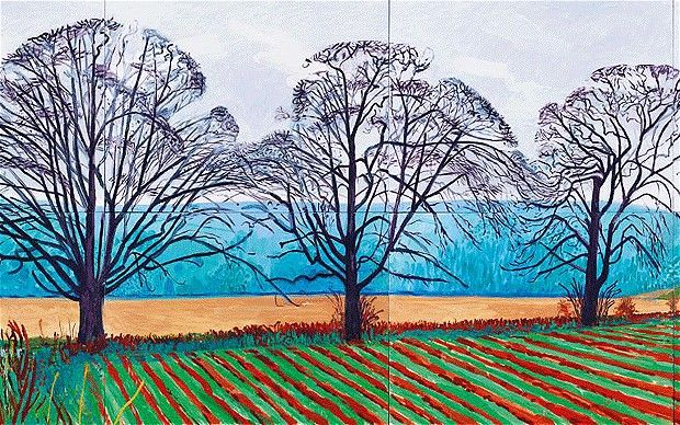 Three Trees near Thixendale, Winter 2007 by David Hockey