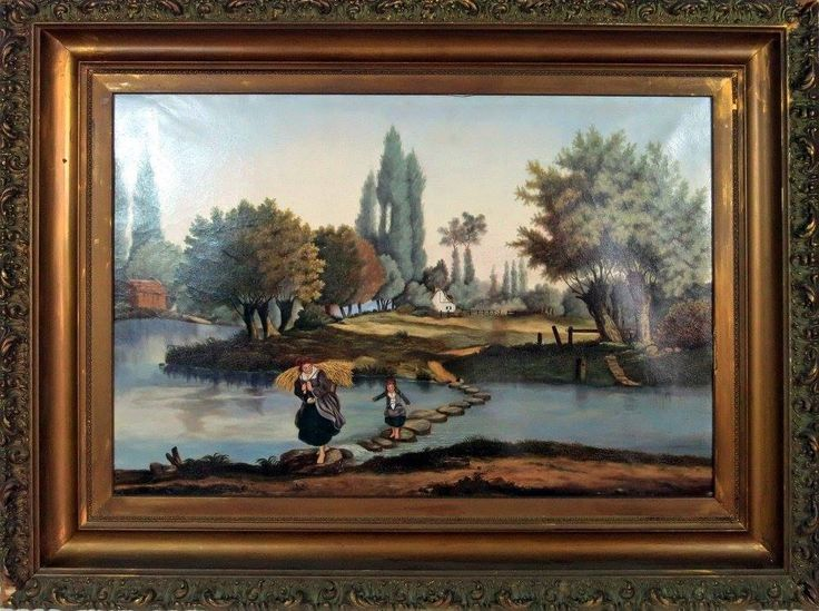 Early 19th c. Oil Painting of Old Country Life Mother and Child. Early to mid-1800. The canvas measures 19 1/4″ x 28 1/2″ and with the frame 27 3/4″ x 37″. The painting shows two small patches on the back but cannot be seen from the front and both have been there many years. The frame has two small missing pieces on two of the corners which would be easy to repair. There is a little craquelar from age but not bad. – ID# 2042 – $350.00 (Blunt Antiques) #antiques #paintings