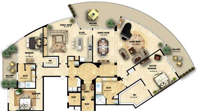 Colored floor plan3 Architecture Colored floor plan