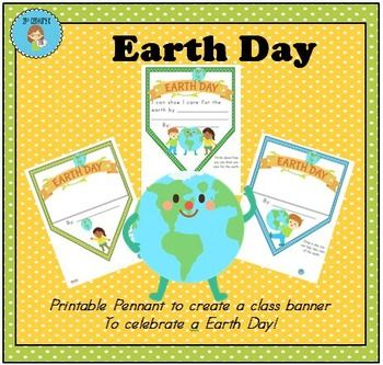 FREE Earth Day Pennant Banner Worksheet! Create a class banner to celebrate Earth Day! Kindergarten, 1st, 2nd