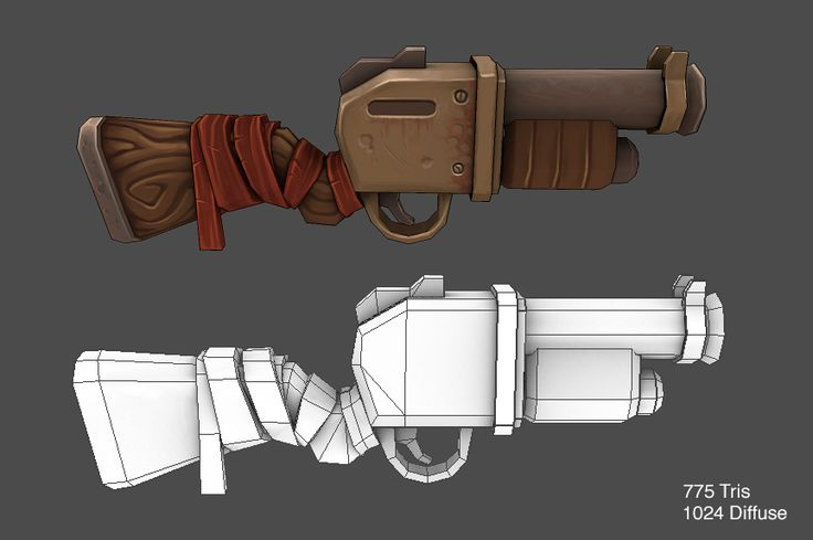 hand painted low poly gun