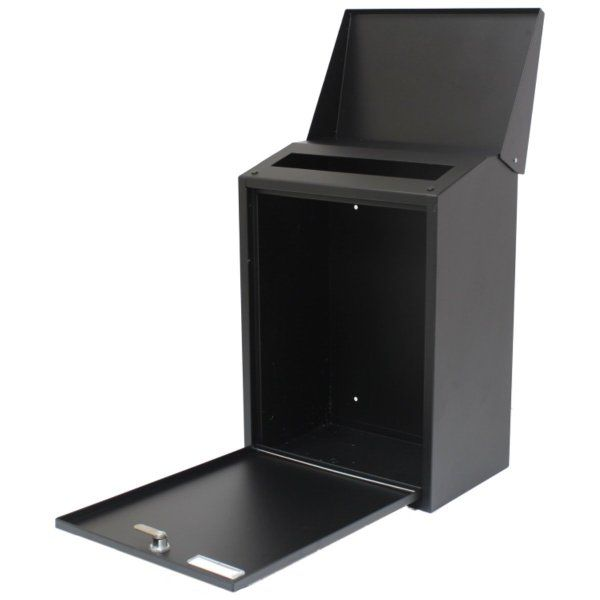 BLACK LARGE OUTDOOR STEEL LOCKABLE/LOCKING HOUSE MAILBOX/POSTBOX LETTER/MAIL/POST BOX:Amazon.co.uk:Kitchen & Home