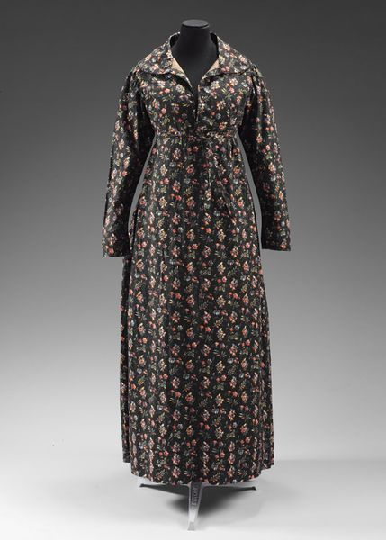 V&A museum, item T.666-1974, c1825-30 roller printed cotton dress, English.