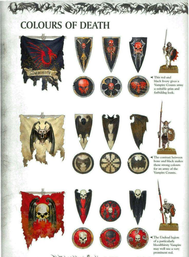 Bannières des morts-vivants, par (auteur inconnu), in Warhammer Battle 8e édition livre d'armée Comtes Vampires, par Games Workshop