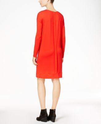 Eileen Fisher Stretch Jersey Surplice Dress, Regular & Petite - Orange XXS