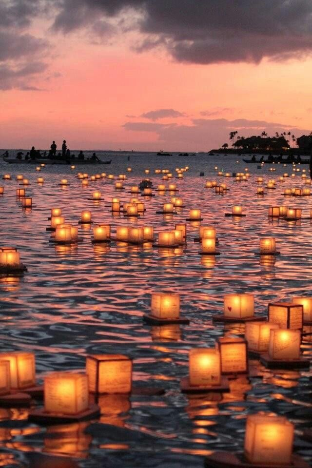 Floating lantern ceremony in Honolulu <<< this is what I plan to do for my wedding in Hawaii ❤   https://www.etsy.com/ca/listing/398480573/beautiful-romantic-floating-water?ref=shop_home_active_1  https://www.etsy.com/ca/listing/463995725/beautiful-high-quality-floating-lotus?ref=shop_home_active_1